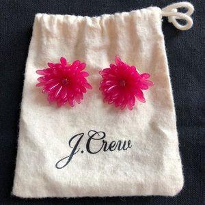 J. Crew Pink Flower Earrings with Gemstone